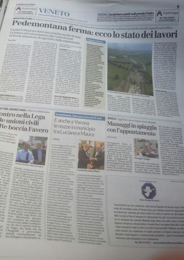 Articolo giornale di Vicenza del 21 agosto 2016